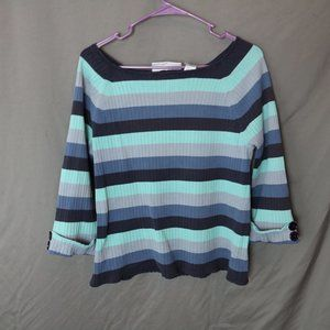 Vintage 90s Blue Striped Sweater